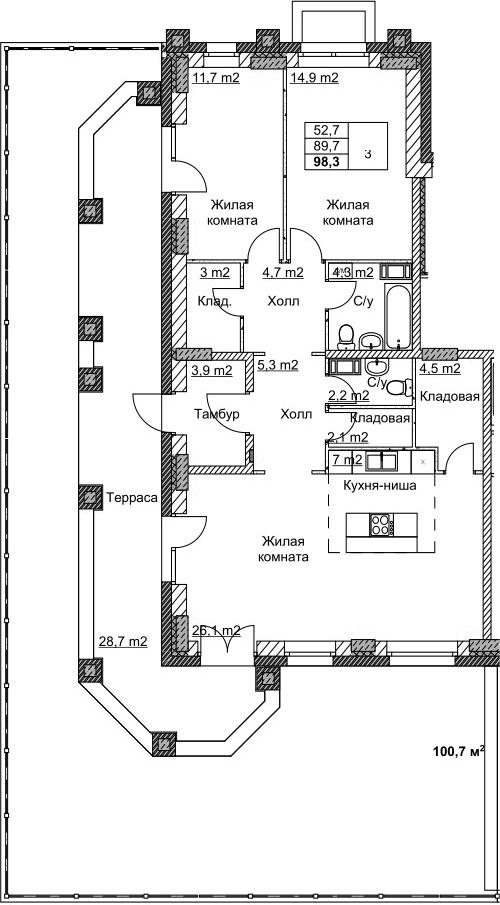 3Е-комнатная, 98.3 м²– 2