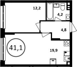 2Е-к.кв, 41.1 м²