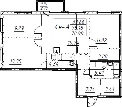 4Е-комнатная, 78.99 м²– 2