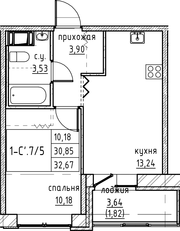 2Е-к.кв, 32.67 м², 2 этаж