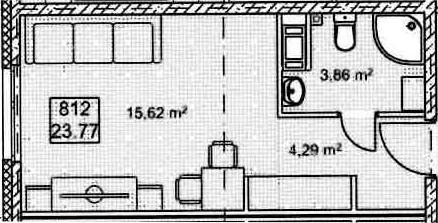 Студия, 23.77 м², 9 этаж