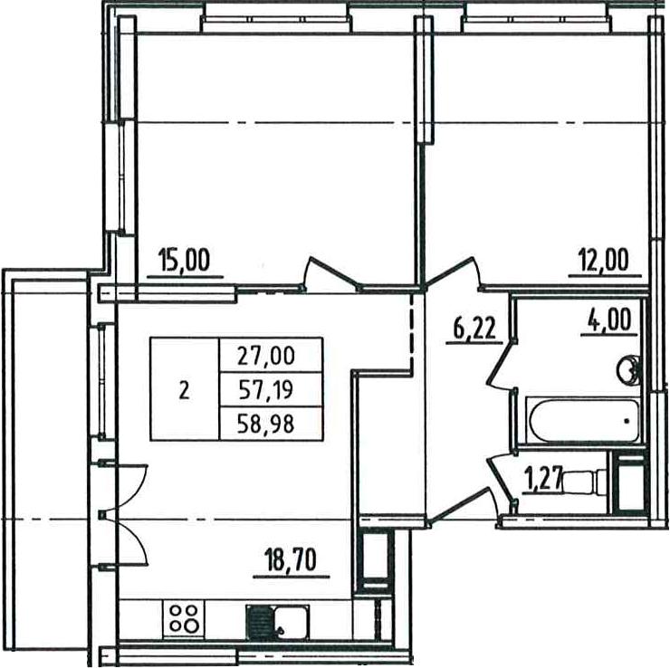 3Е-к.кв, 58.98 м², от 5 этажа