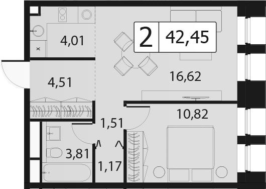 2Е-к.кв, 42.45 м², 15 этаж