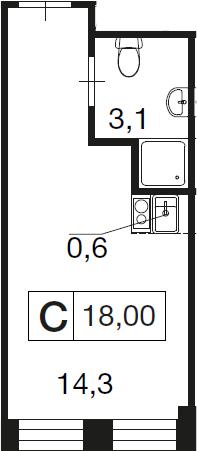 Студия, 18 м²– 2