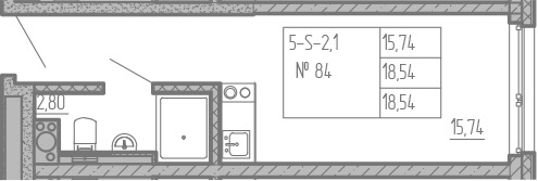 Студия, 18.54 м²– 2