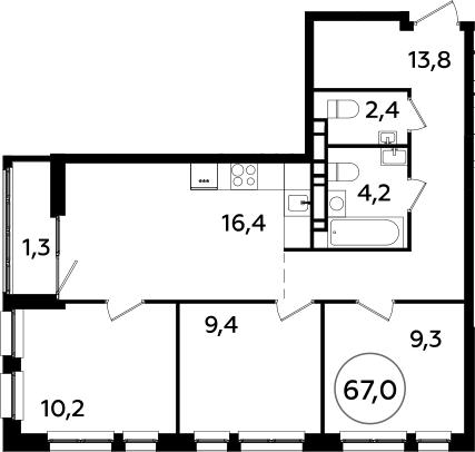 4Е-комнатная квартира, 67 м², 22 этаж – Планировка