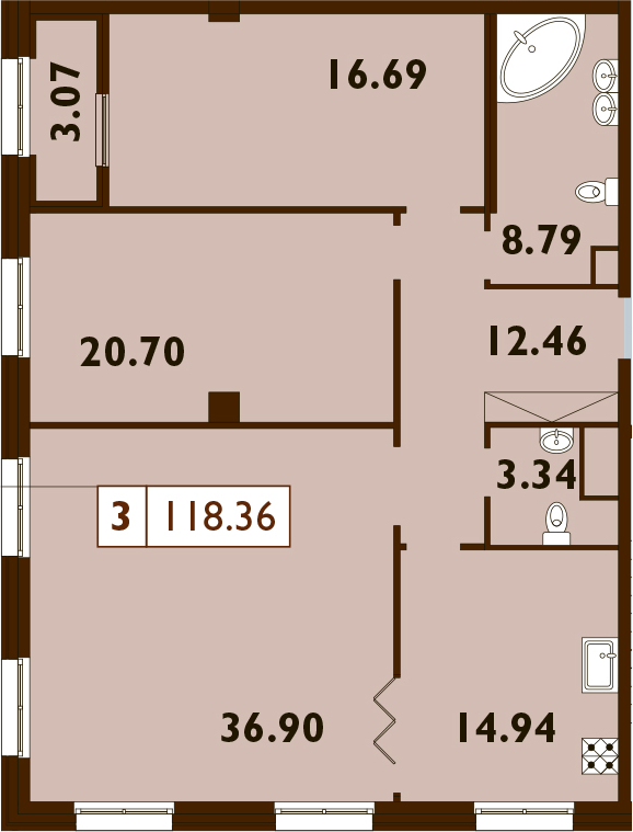 3-комнатная, 118.04 м²– 2