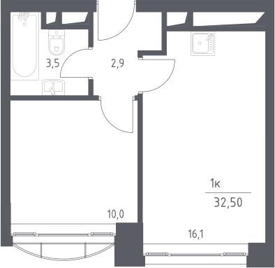 2-к.кв (евро), 32.5 м²