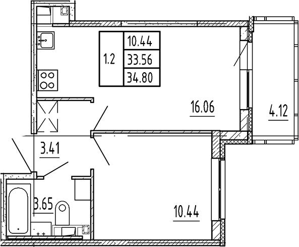 2Е-к.кв, 33.56 м², 4 этаж