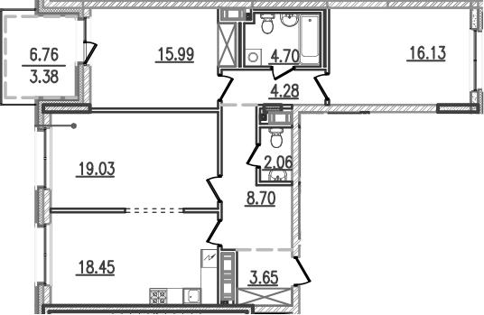 4-к.кв (евро), 99.75 м²
