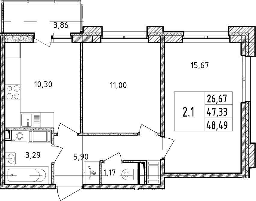 2-к.кв, 47.33 м²