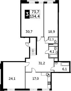 3-к.кв, 134 м²