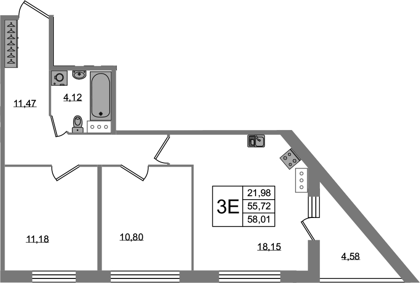3-к.кв (евро), 60.3 м²