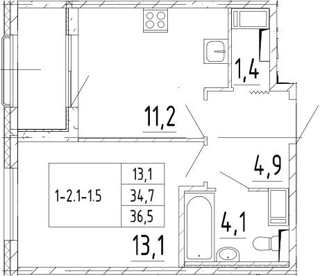 1-к.кв, 36.5 м², от 8 этажа