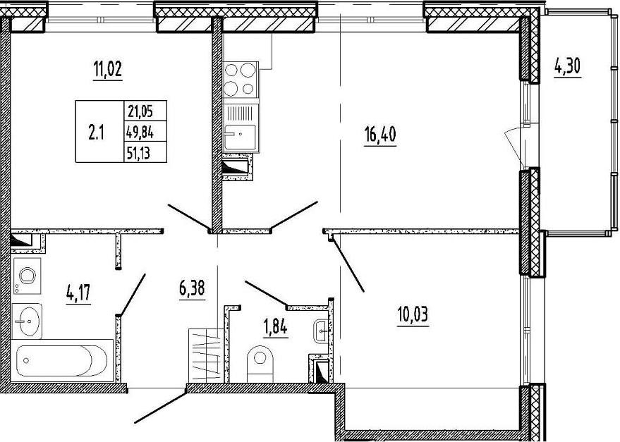 3-к.кв (евро), 54.13 м²