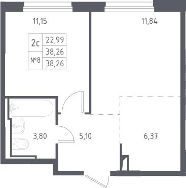 2Е-к.кв, 38.26 м², 9 этаж