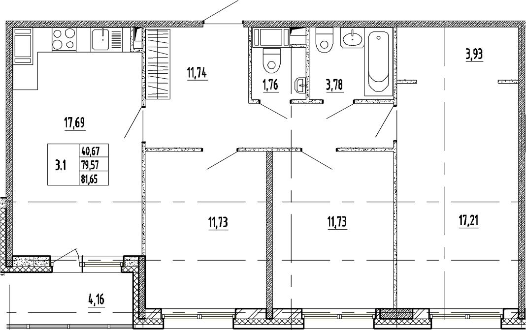 4Е-к.кв, 79.57 м²