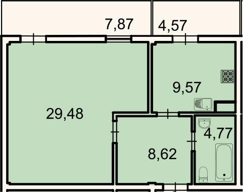 1-к.кв, 52.5 м², 2 этаж