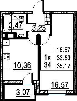 1-к.кв, 33.63 м²