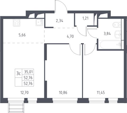 3Е-к.кв, 52.76 м²