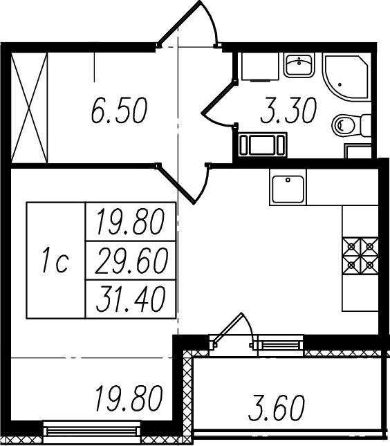 Студия, 29.6 м², 10 этаж