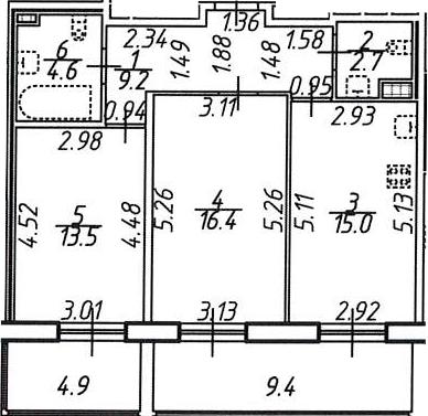 2-к.кв, 65.7 м², 7 этаж