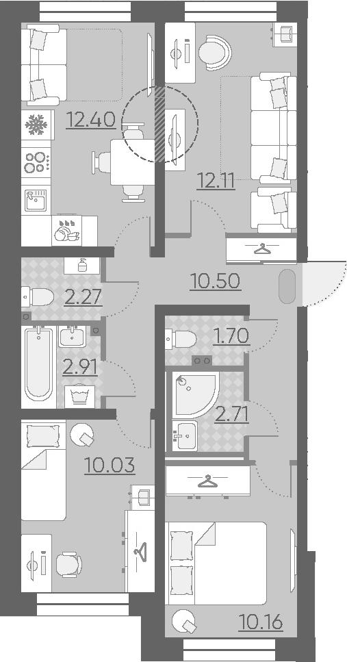 3-к.кв, 64.79 м²
