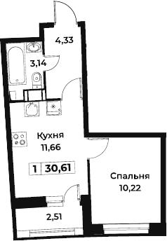 1-к.кв, 30.61 м², от 5 этажа