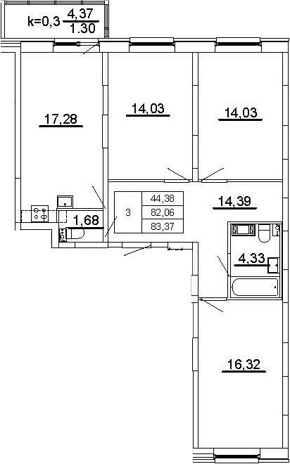 4Е-комнатная, 83.37 м²– 2