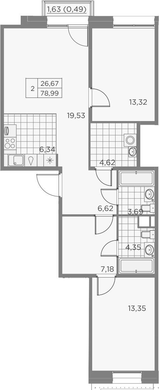 3Е-к.кв, 79.49 м², 9 этаж