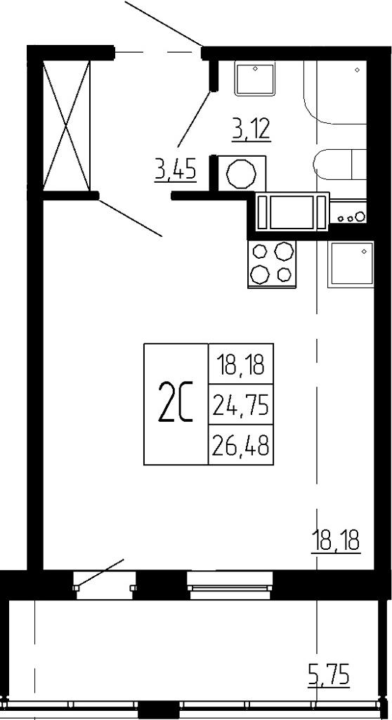 Студия, 24.75 м², 2 этаж