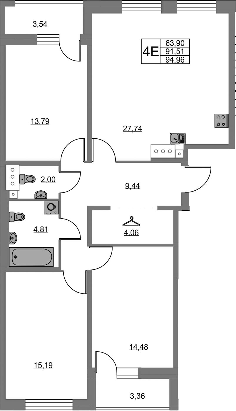 4Е-комнатная, 91.51 м²– 2