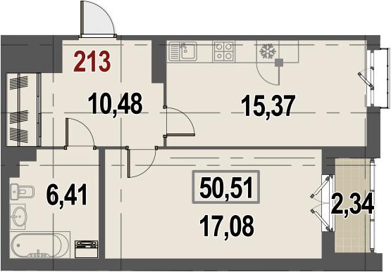 1-комнатная, 50.51 м²– 2