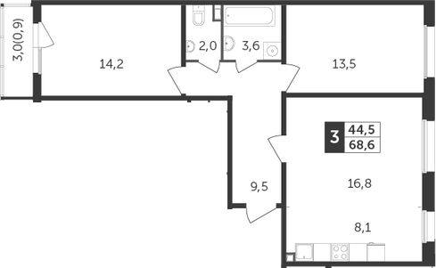 3Е-к.кв, 68.6 м²