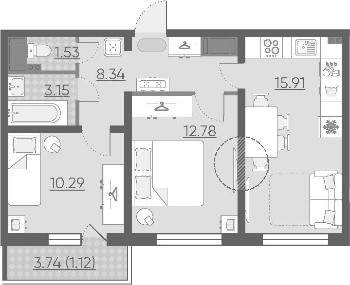 3Е-комнатная, 53.12 м²– 2