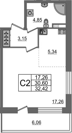 Студия, 36.66 м²