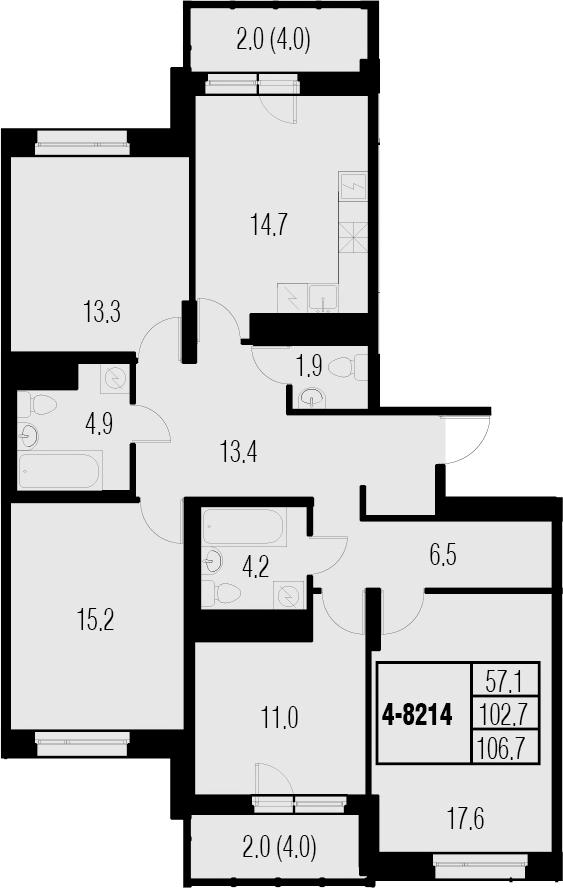 4-к.кв, 110.7 м²
