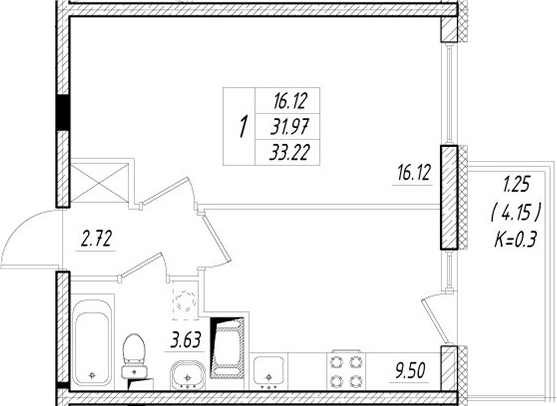 1-к.кв, 36.12 м²