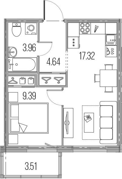 2Е-к.кв, 35.31 м²