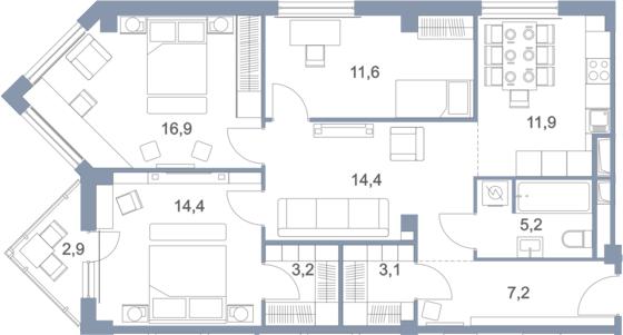 4-комнатная, 90.8 м²– 2
