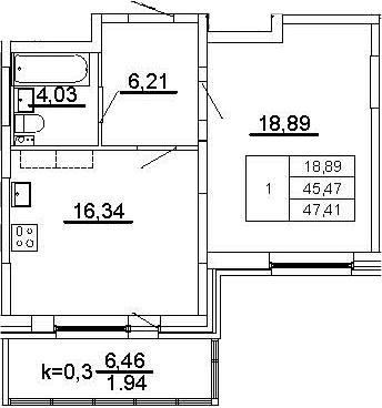 2-к.кв (евро), 51.94 м²