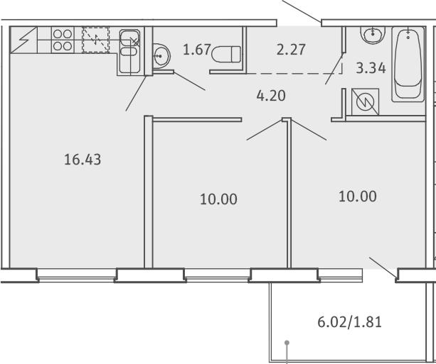 3Е-комнатная, 49.72 м²– 2