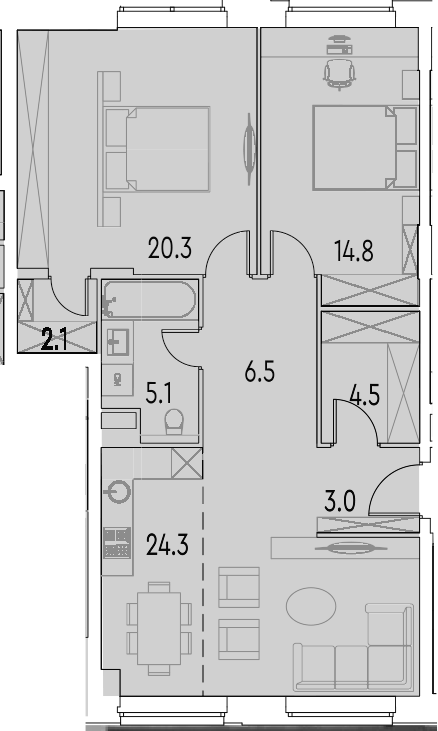 3Е-к.кв, 80.6 м²