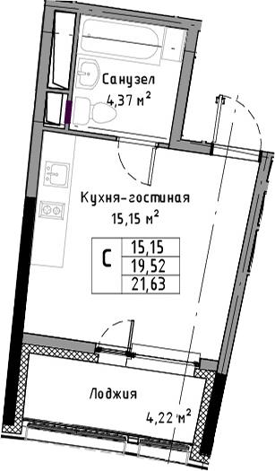 Студия, 21.63 м²– 2