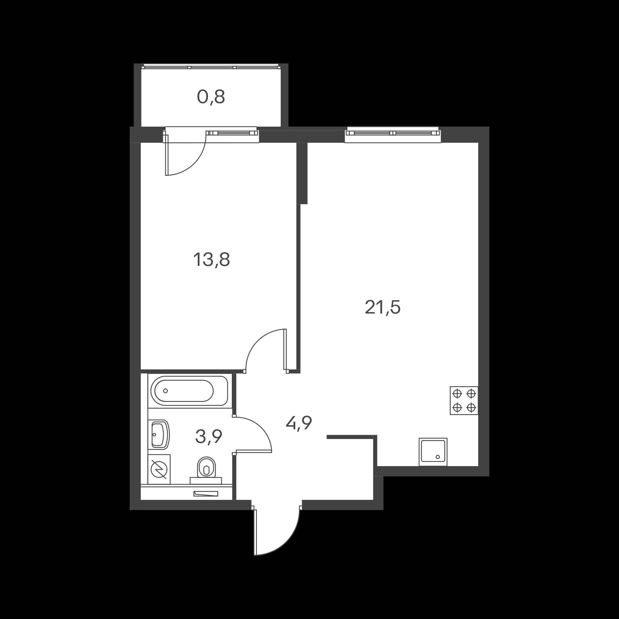 2-к.кв (евро), 44.1 м²