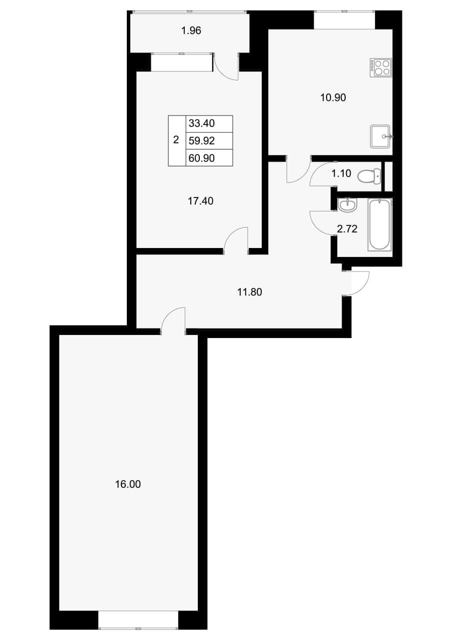 2-к.кв, 61.88 м²