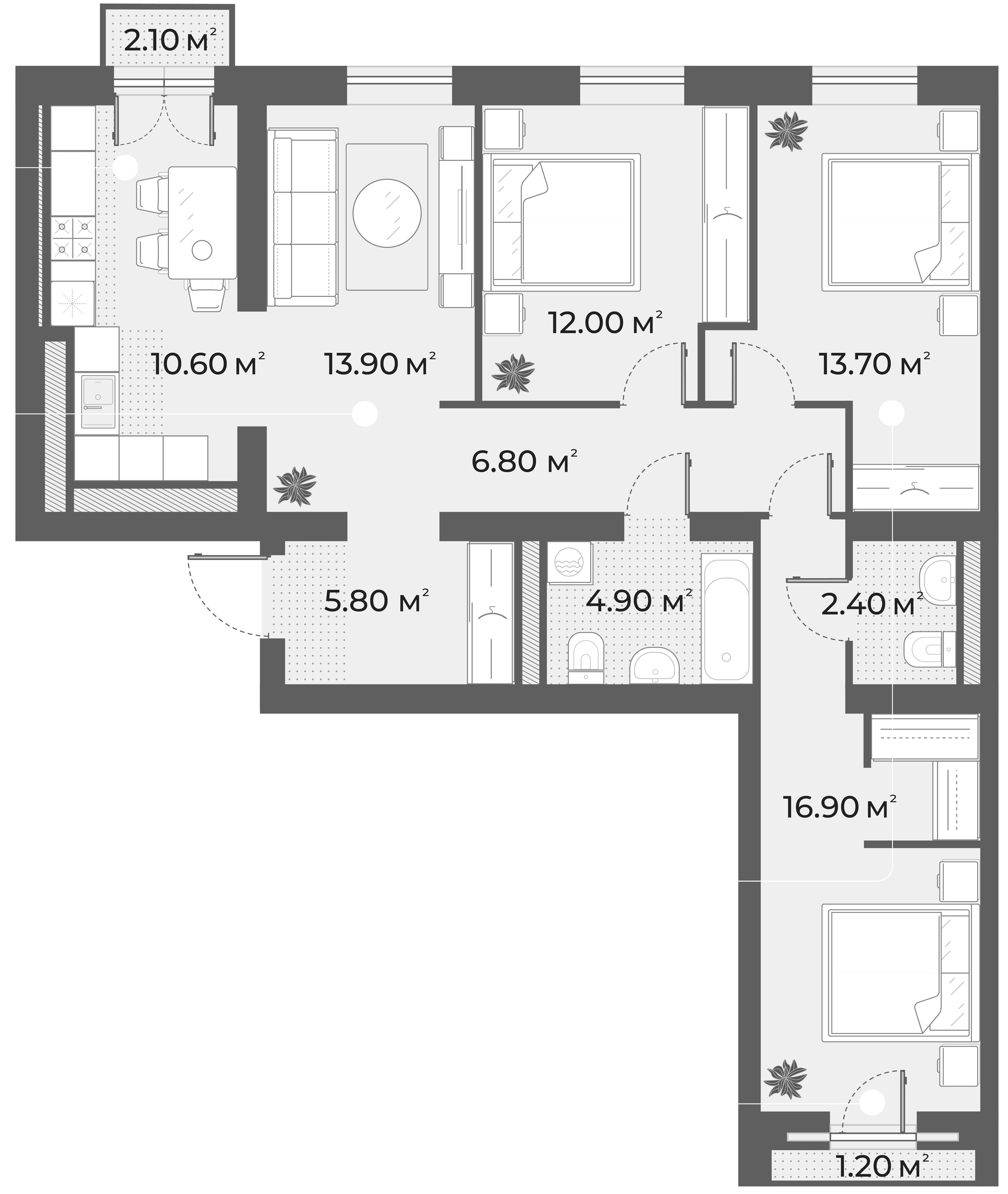 4-комнатная квартира, 87 м², 2 этаж – Планировка