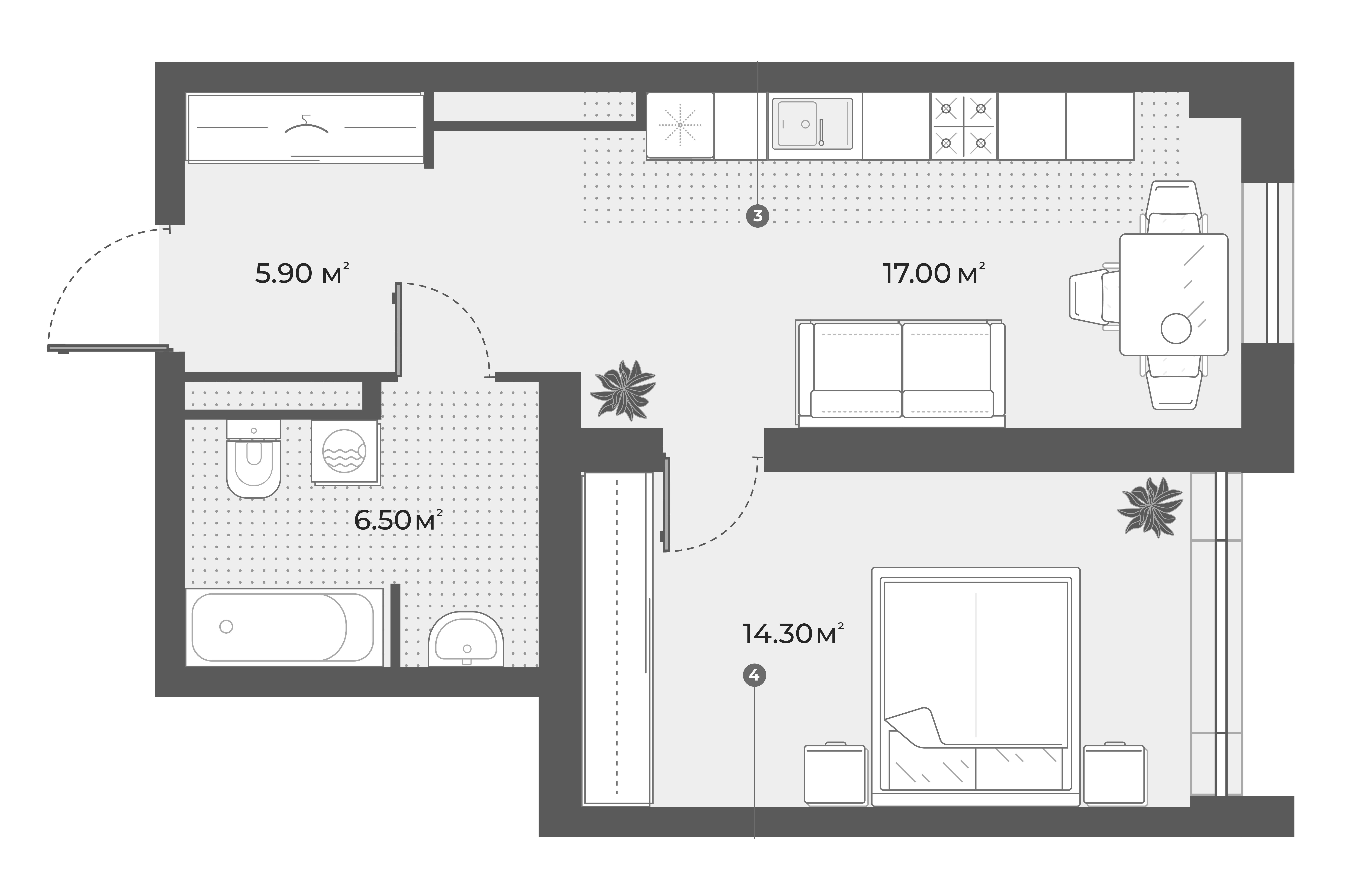 2Е-к.кв, 43.7 м², 3 этаж