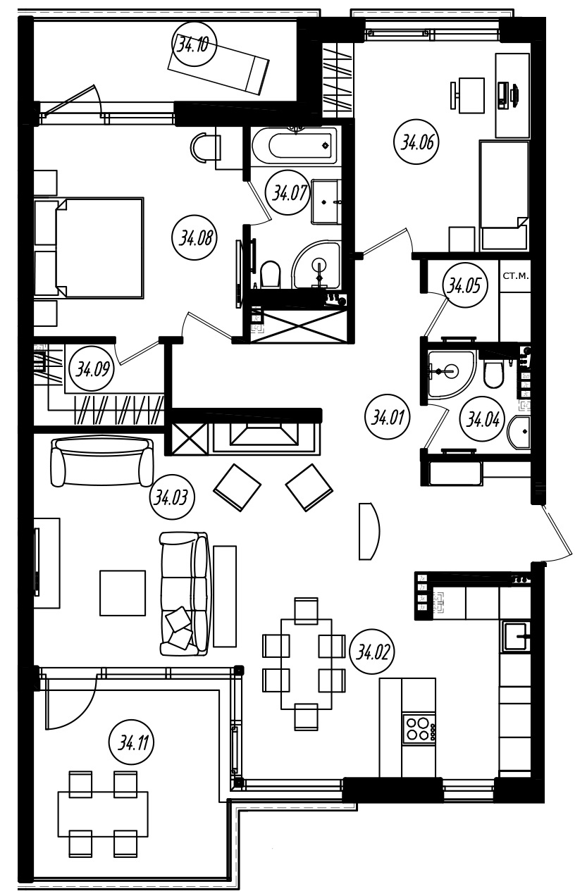 3Е-к.кв, 104.01 м²