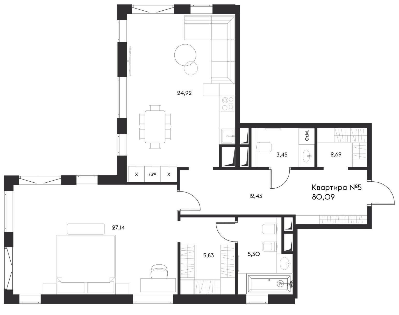 2Е-комнатная, 80.09 м²– 2